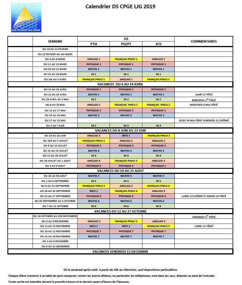 Calendrier Concours Cpge 2019.Divers Calendriers Et Planning Cpgeptljg